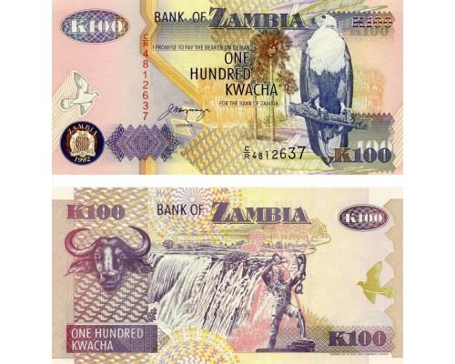 БЕЗ СКИДКИ Банкнота 100 квач Замбия 2011 KR