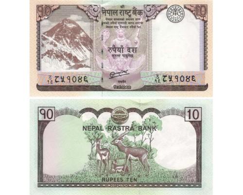 БЕЗ СКИДКИ Банкнота 10 рупий Непал 2012 KR