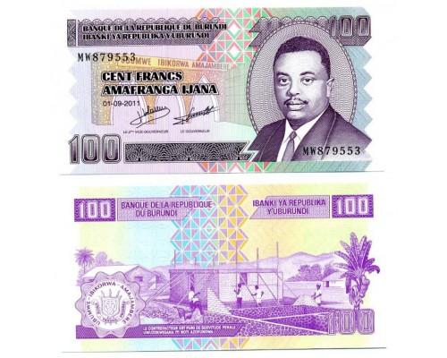 БЕЗ СКИДКИ Банкнота 100 франков Бурунди 2011 KR