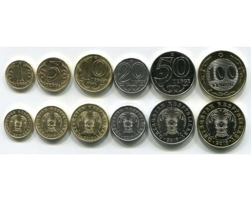 БЕЗ СКИДКИ Набор из 6 монет Казахстан Надпись на латыни 2019