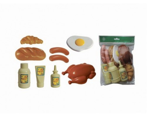 "Игровой набор ""Продукты"" №2 (батон,круассан,яичница,курица,сосиски 2шт.,кетчуп,горчица,майонез)"