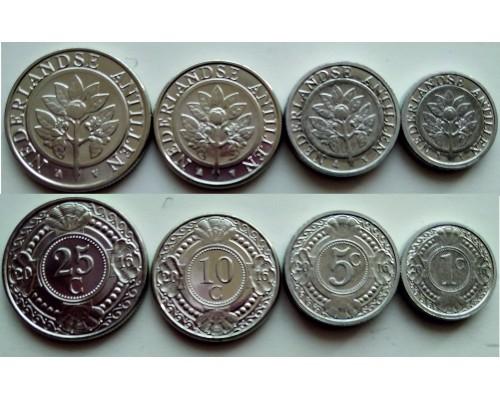 БЕЗ СКИДКИ Набор из 4 монет цветы Нидерландские Антиллы
