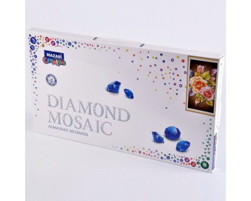 Алмазная мозаика РОЗЫ И БАБОЧКИ 22х40 см (рама 23.8х43.8см) частичная выкладка, стразы разного размера